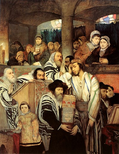 Yom Kippur by Maurycy Gottlieb (1878) Maurycy Gottlieb - Jews Praying in the Synagogue on Yom Kippur.jpg