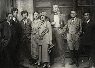 Boris Pasternak - Pasternak (second from left) in 1924, with friends including Lilya Brik, Sergei Eisenstein (third from left) and Vladimir Mayakovsky (centre)