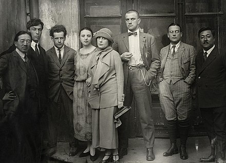 Pasternak (second from left) in 1924, with friends including Lilya Brik, Sergei Eisenstein (third from left) and Vladimir Mayakovsky (centre) Mayakovsky Pasternak.jpg