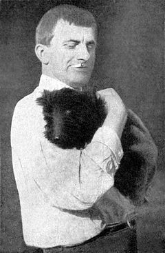 Mayakovsky with dog Pushkino 1925