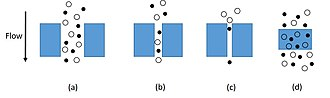 Membrane gas separation - (a) Bulk flow through pores; (b) Knudsen diffusion through pores; (c) molecular sieving; (d) solution diffusion through dense membranes.