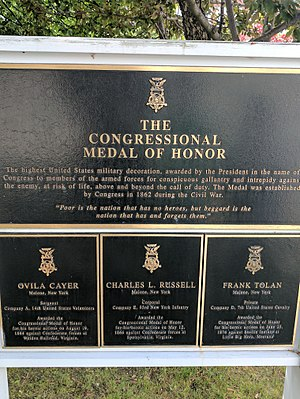 Malone, New York - Three recipients of the Medal of Honor resided in Malone
