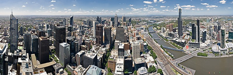 A 180 degree panoramic image of Melbourne's CBD: with the Hoddle Grid (left) and Southbank (right), as seen from the Rialto Observation Deck (2008)