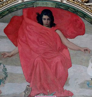 Stamata Revithi - Painting of the Muse Melpomene by Edward Simmons, 1891; Thomas Jefferson Building, Washington, D.C. According to certain modern Olympic historians and journalists, Melpomene and Revithi are the same person, and the Greek woman was attributed the name of the Muse.
