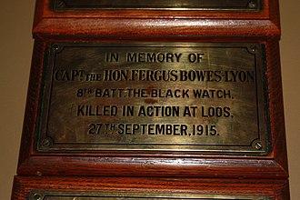 Fergus Bowes-Lyon - Memorial plaque to Fergus Bowes-Lyon, Black Watch Museum, Perth