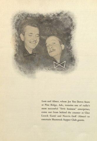 Lum and Abner - Image: Menu 1950 05 20 Lum & Abner biography and phot