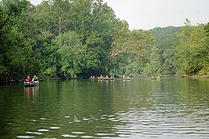 Meramec River - Canoers enjoy a float trip on the Meramec below Leasburg