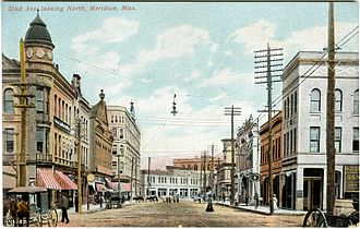 Meridian, Mississippi - Downtown Meridian in the early 1900s (photo taken near intersection of 22nd Ave and 4th St looking north)