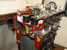 A sectioned, parallel valve, aircraft engine cylinder head is shown with colour-coded internal details. Coolant passage ways are painted green; the valves, valve springs, camshaft and rocker arms are also shown.