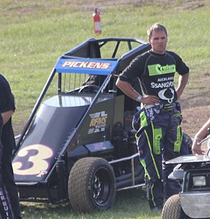 Michael Pickens - Pickens beside his USAC Midget car (United States) in July 2014