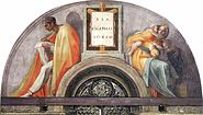 "Michelangelo - Sistine Chapel ceiling - Lunette ""Asa - Jehoshaphat - Joram"""