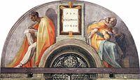 "Michelangelo - Sistine Chapel ceiling - Lunette ""Asa - Jehoshaphat - Joram"".jpg"