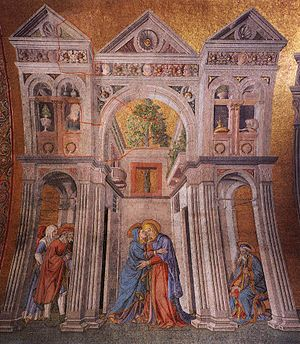 "Michele Giambono - The Visitation (c. 1451) Mascoli Chapel, San Marco, Venice Movement: Renaissance (Early Italian, ""quattrocentro"") Theme: Religious"