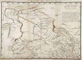 Bernardo de Miera y Pacheco - Map of north-western New Mexico by Bernando de Miera y Pacheco, 1778.