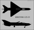 Mikoyan-Gurevich Ye-7PD (I-23-31) two-view silhouette.png