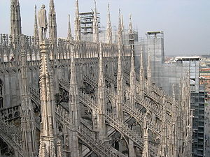 View from the Duomo (Cathedral) in Milan (Italy).