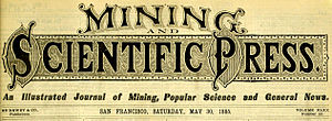 Nameplate (publishing) - Nameplate of the Mining and Scientific Press in 1885
