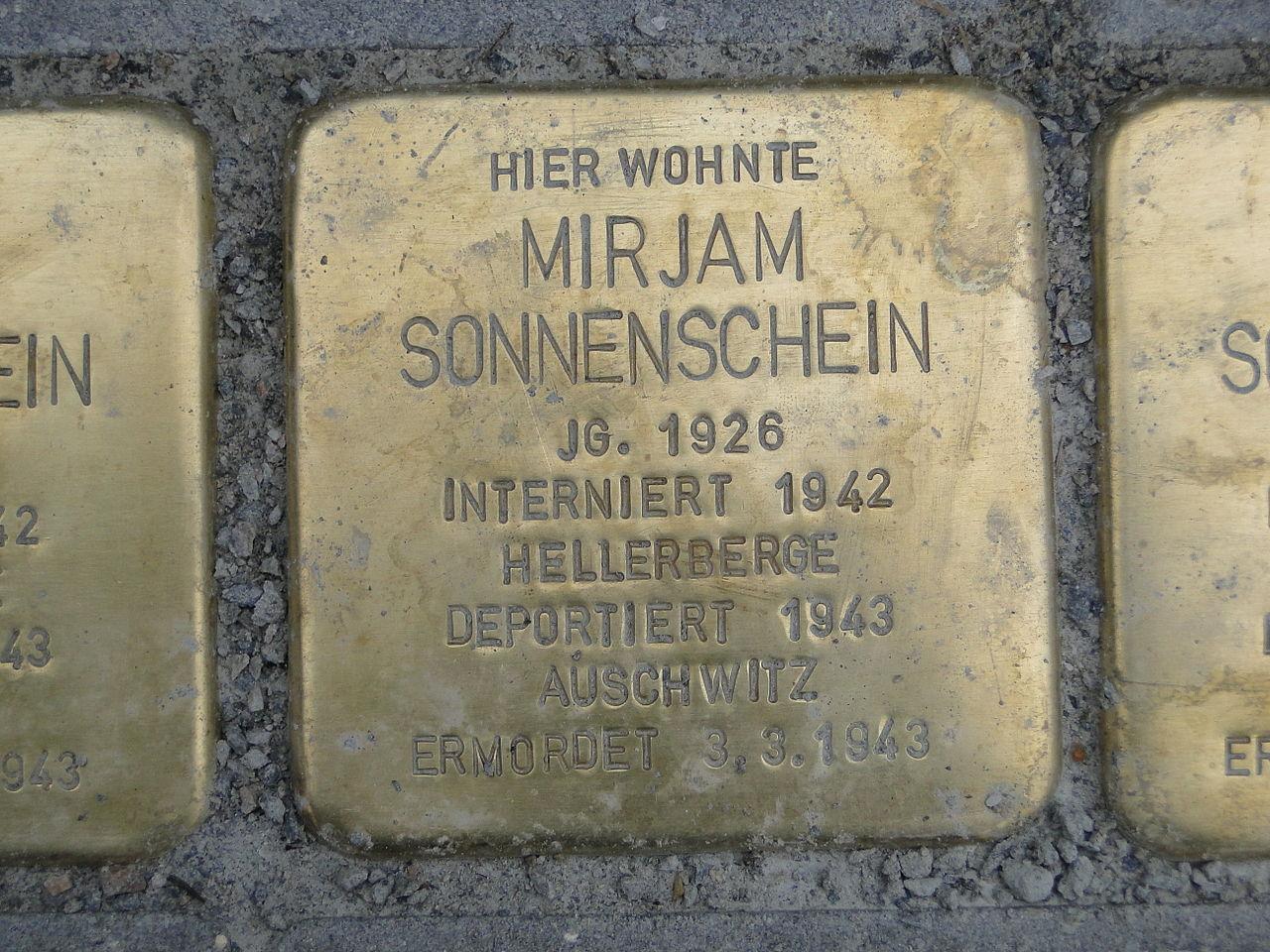 Mirjam Sonnenschein Stolperstein Dresden.JPG