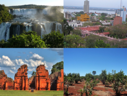 Clockwise frae top: Iguazú Falls (Iguazú National Park), Posadas, Yerba Mate plantation, Guaraní Jesuit Mission of San Ignacio Miní.
