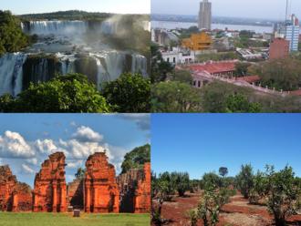 Misiones Province - Clockwise from top: Iguazú Falls (Iguazú National Park), Posadas, Yerba Mate plantation, Guaraní Jesuit Mission of San Ignacio Miní.