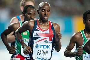 Head shaving - Mo Farah with a shaved head.