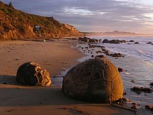Moeraki Boulders - The Moeraki Boulders at sunrise