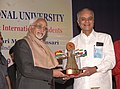 Mohd. Hamid Ansari being presented a memento by the President & Founder Director, Symbiosis International University, Dr. S.B. Majumdar at the interacting session with the students of the University, in Pune on July 18, 2009.jpg
