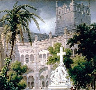 Abbey of Santa Engracia - The abbey before its destruction. Drawing by Louis-François Lejeune.