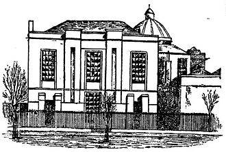 Montrose Academy - Side elevation of Montrose Academy in 1898, showing the recently added Dorward's Seminary building