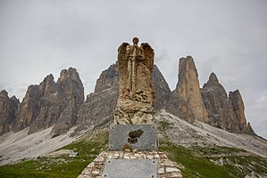 "Tre Cime di Lavaredo - Monument ai Bersaglieri (meaning ""snipers"" in English) at Tre Cime di Lavaredo."