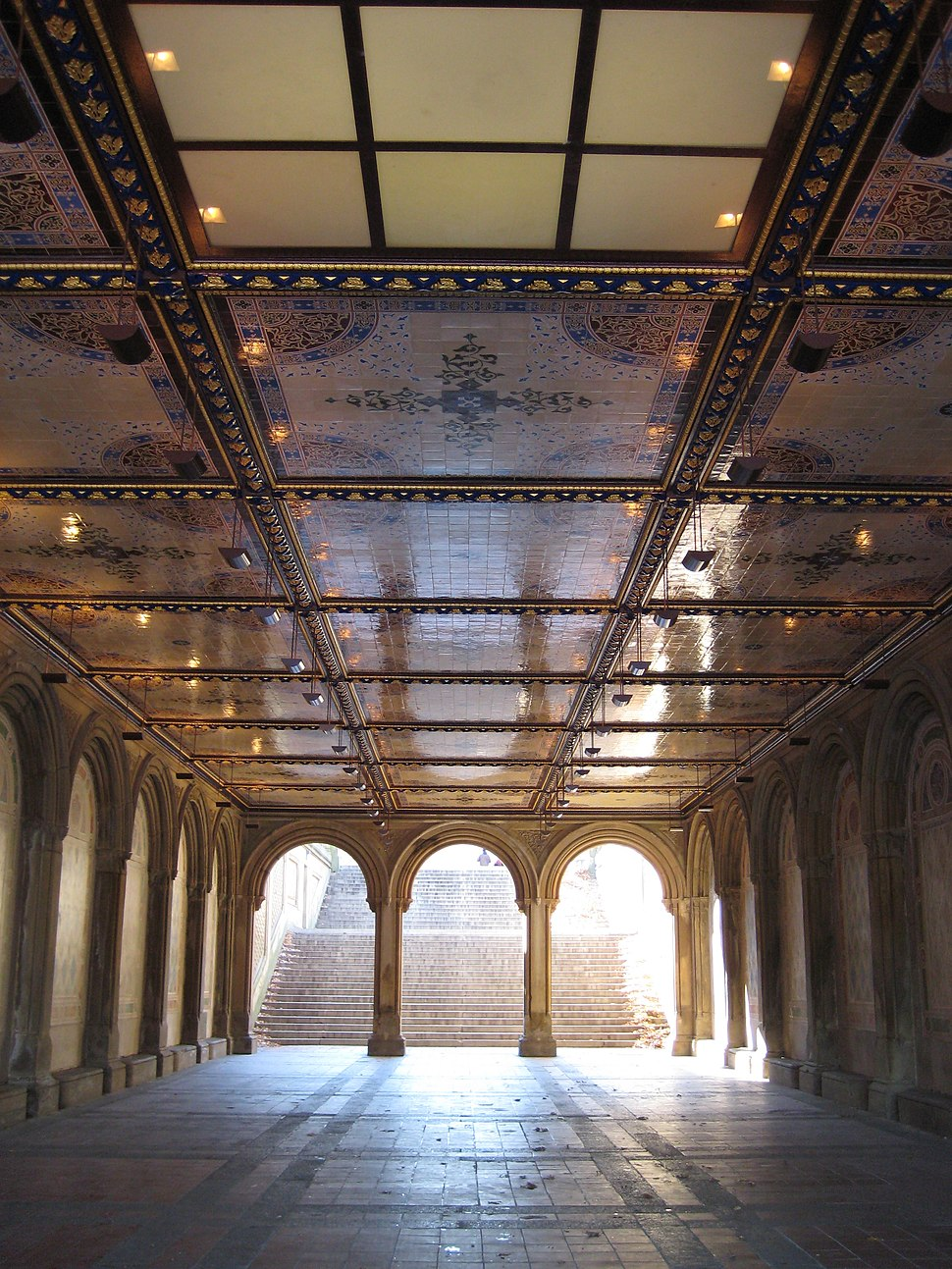 Morning view under Bethesda Terrace, Central Park, NYC