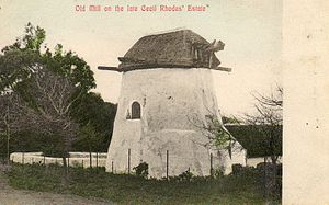 Mostert's Mill - Mostert's Mill in the 1900s, showing the original wooden poll end on the windshaft