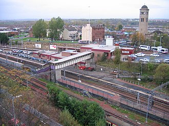 Motherwell railway station - Motherwell looking from the south, with stabling sidings in the foreground. Platform 4 is closest to the camera. The bridge in the foreground has recently been replaced with a DDA compliant one.