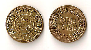 Mount Hope Bridge - Image: Mount Hope Bridge token (front & back)