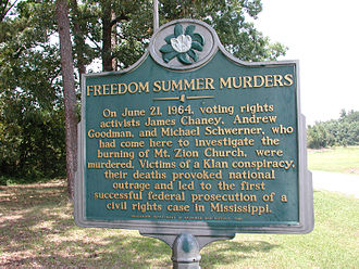 Freedom Summer - Mt. Zion Church state history marker near Philadelphia, Mississippi