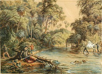 Battle of Cerro Corá - Death of Francisco Solano López in River Aquidabán (by Adolfo Methfessel).