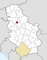 Location of the municipality of Surčin within Serbia