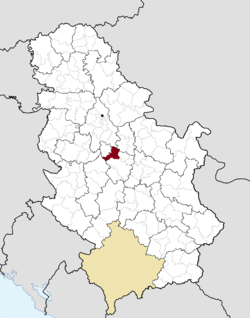 Location of the municipality of Topola within Serbia