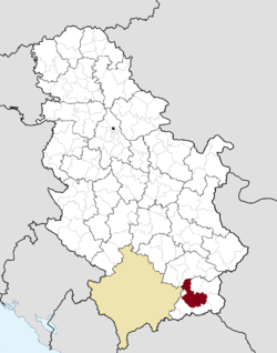Location of the city of Vranje within Serbia