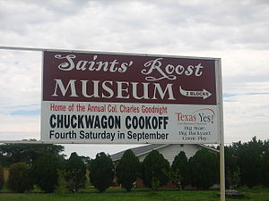 Saints' Roost Museum - Entrance sign at Saints' Roost Museum in Clarendon, Texas.