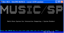 A terminal window showing white text on a black background. An ASCII art logo reads MUSIC/SP and is captioned below as Multi User System for Interactive Computing / System Product.