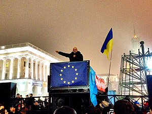Mustafa Nayyem - Mustafa Nayyem at Euromaidan on 23 November 2013