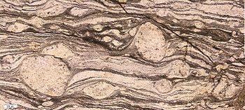 A mylonite (through a petrographic microscope) showing rotated so-called δ-clasts. The clasts show that the shear was dextral in this particular cut. Strona-Cenery zone, Southern Alps, Italy.