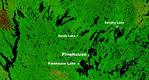 Pinehouse - Location of Pinehouse on a NASA image of Pinehouse Lake