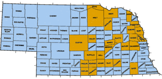 County government in Nebraska - Counties in orange are township counties; counties in blue are commissioner counties