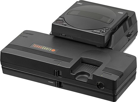 The TurboGrafx-16/PC Engine was the first video game console capable of playing CD-ROM games with an optional add-on. NEC-TurboGrafx-16-CD-FL.jpg