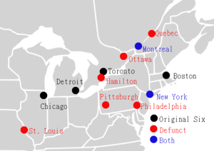 e892941deff Cities that hosted NHL teams prior to the 1967 NHL expansion. The six teams  that