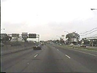 Frontage road - New Jersey Route 3, westbound in Secaucus. A service road is visible on the far right.