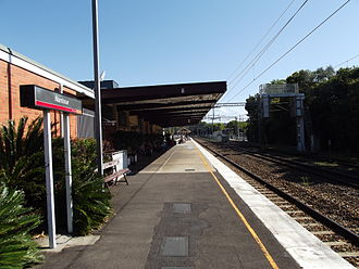 Nambour railway station - Southbound view from Platform 1 in September 2012