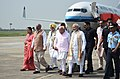 Narendra Modi being received by the Governor of Punjab and Administrator of U.T. Chandigarh, Shri V.P. Singh Badnore and the Chief Minister of Haryana, Shri Manohar Lal Khattar, on his arrival, at Chandigarh (1).jpg